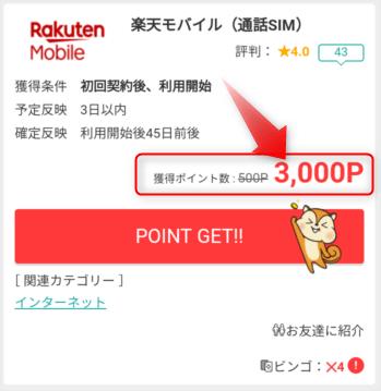 ポイントサイトの広告の例「楽天モバイルの契約で3,000円のポイント還元」