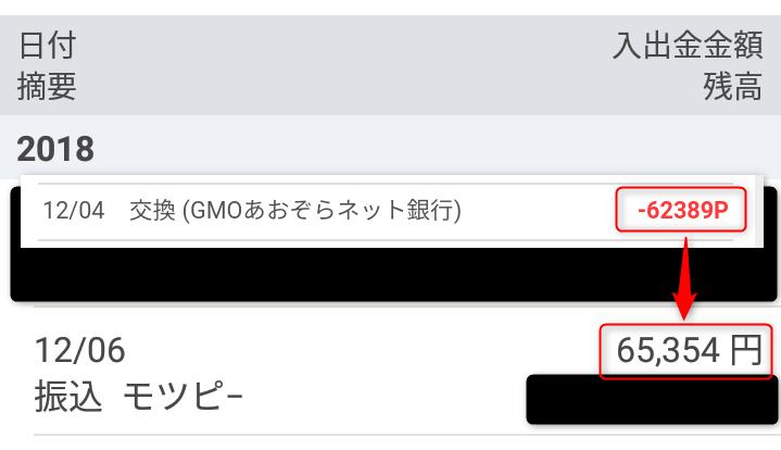 モッピーからGMOあおぞらネット銀行へ交換して約3,000円増量