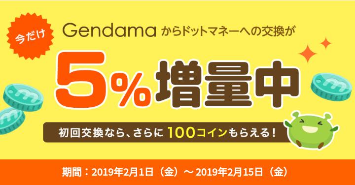 ドットマネーの増量キャンペーンの例(2019年2月)