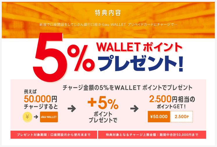 じぶん銀行からau WALLETへのチャージで5%のポイントプレゼントキャンペーン