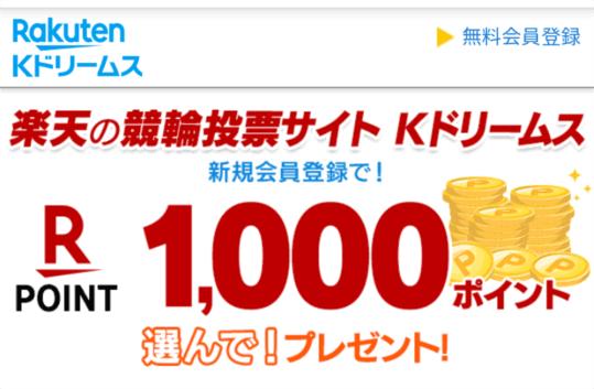 Kドリームスへ登録すると1,000円分の楽天スーパーポイントを貰える