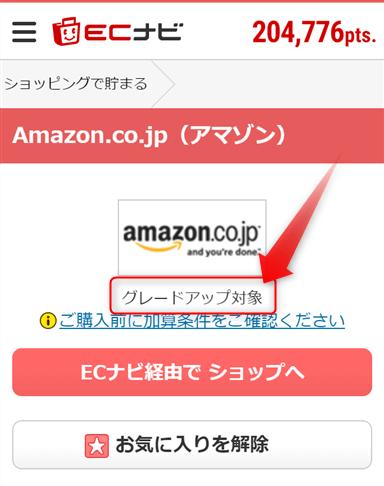 ECナビはAmazonでの買い物もグレードアップ対象