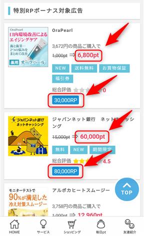 全国ランキング特別企画の「特別RPボーナス対象広告」