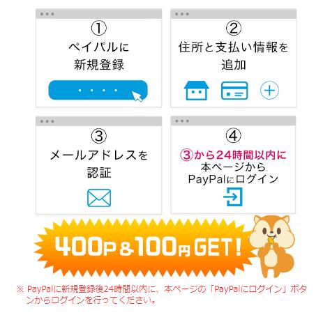 モッピー経由でPayPalに新規登録&ログインして計500円