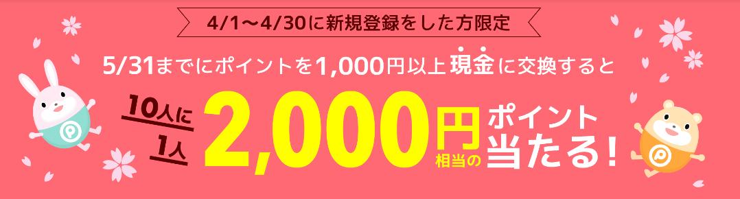 2019年4月】ポイントタウン新規登録キャンペーン!紹介経由で2000円当たる