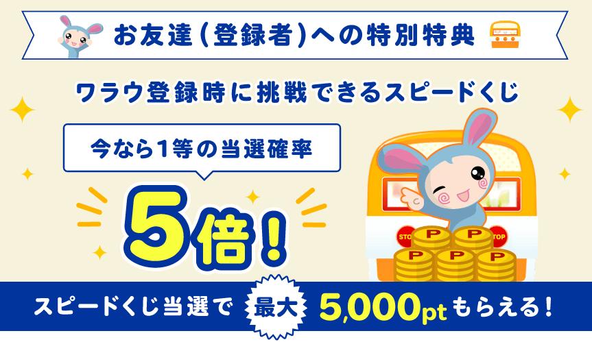 ワラウ「もっと紹介キャンペーン!」(2019年10月)はスピードくじの1等当選確率が5倍