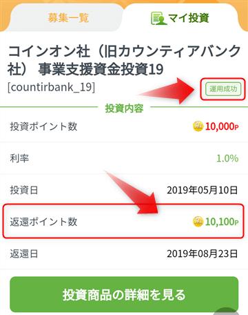 PeX投資の結果(運用成功)