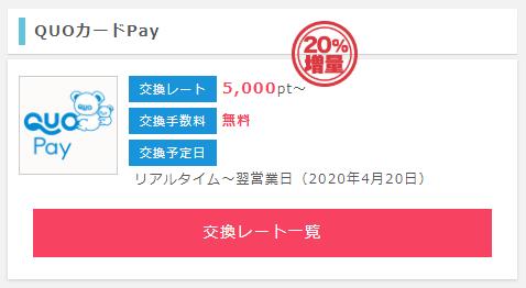 ポイントインカム QUOカードPayへの交換で20%増量
