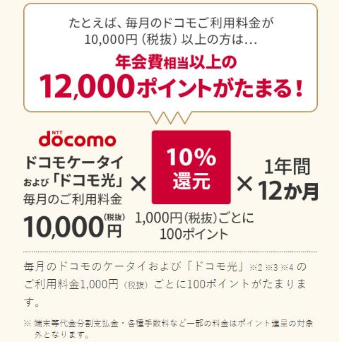 ドコモご利用料金の10%を還元(税抜1,000円毎)