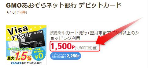 GMOあおぞらネット銀行 デビットカードは約1,500円のポイント還元