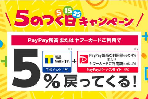 Yahoo!ショッピング「5のつく日」はPayPayボーナスライトを+4.0%還元