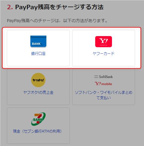 PayPay残高のチャージ方法