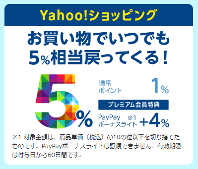 プレミアム会員はYahoo!ショッピングでPayPayボーナスライトが+4.0%還元