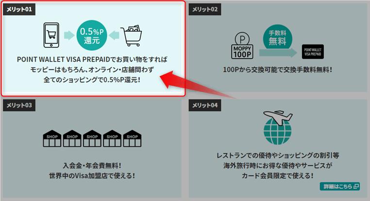 POINT WALLET VISA PREPAIDで買い物をして0.5%ポイント還元