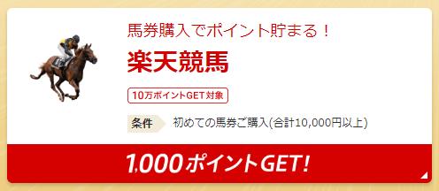 楽天SBC 楽天競馬の利用で楽天ポイント1,000円分