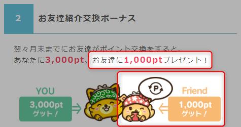 ポイントインカム 紹介ポイント交換ボーナス