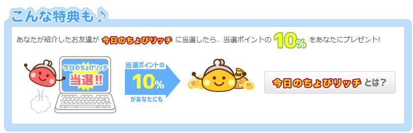 ちょびリッチ 友達紹介特典(今日のちょびリッチの当選金額の10%)