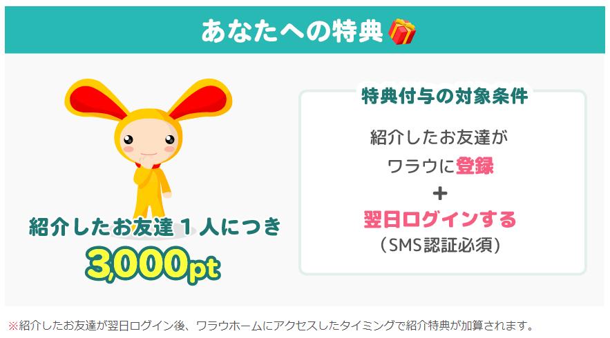 ワラウの友達紹介制度の特典 友達1人を紹介する度に300円